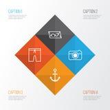 Icônes de tourisme réglées Collection de rue, d'itinéraire, de crochet de bateau et d'autres éléments Inclut également des symbol illustration de vecteur