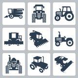 Icônes de tracteur de vecteur et de moissonneuse de cartel Image libre de droits