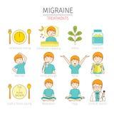 Icônes de traitements de migraine réglées Images stock