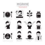 Icônes de traitements de migraine réglées, monochrome Photos stock