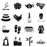 Icônes de traitements de station thermale réglées, style simple Photographie stock libre de droits