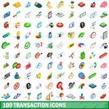 100 icônes de transaction réglées, style 3d isométrique Photographie stock libre de droits