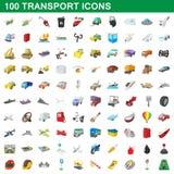 100 icônes de transport réglées, style de bande dessinée illustration stock