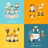 Icônes de travail d'équipe plates illustration stock