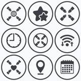 Icônes de travail d'équipe Symboles de coups de main Images stock