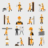 Icônes de travailleur de la construction plates illustration stock