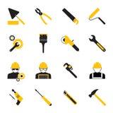 Icônes de travailleurs de la construction et d'outils illustration libre de droits