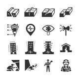 Icônes de tremblement de terre et de géologie illustration libre de droits