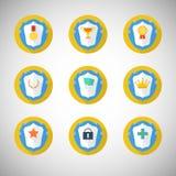 Icônes de trophée et de récompenses dans le style plat de conception illustration stock