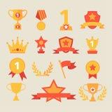 Icônes de trophée et de récompenses réglées Illustration de vecteur illustration de vecteur
