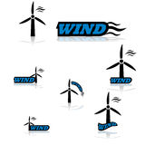 Icônes de turbine de vent Photo stock