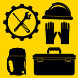Icônes de tuyauterie de vecteur réglées et outils et outils de DIY Silhouette IL Image stock