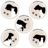 Icônes de vétérinaire de chien et de chat illustration de vecteur