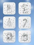 Icônes de vacances d'hiver Photos libres de droits