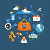 Icônes de vacances de bord de la mer d'été Image libre de droits