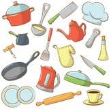 Icônes de vaisselle de cuisine Image stock