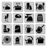 Icônes de vaisselle de cuisine de vecteur Images libres de droits