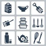 Icônes de vaisselle de cuisine de vecteur réglées illustration stock