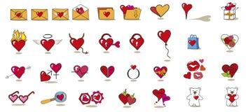 Icônes de Valentine Illustration de Vecteur