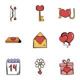 Icônes de Valentine Day réglées, style de bande dessinée Images stock