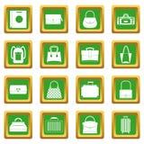 Icônes de valise de bagages de sac réglées vertes Image stock