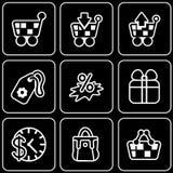 Icônes de vecteur - achats, boutique, remises Photos stock
