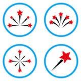 Icônes de vecteur arrondies par feux d'artifice d'étoile Photographie stock