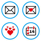 Icônes de vecteur arrondies par message d'amour Photos stock