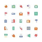 Icônes 5 de vecteur colorées parélectronique Image libre de droits