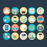 Icônes 5 de vecteur colorées par éducation illustration stock
