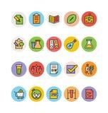 Icônes 9 de vecteur colorées par éducation illustration stock
