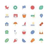 Icônes 5 de vecteur colorées par été Photographie stock
