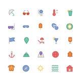 Icônes 1 de vecteur colorées par été Image libre de droits