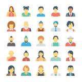 Icônes 3 de vecteur colorées par avatars de personnes illustration stock
