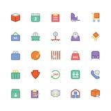 Icônes 5 de vecteur colorées par livraison de logistique Image stock