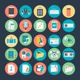 Icônes 3 de vecteur colorées par multimédia illustration stock