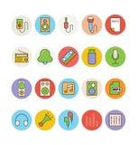 Icônes 3 de vecteur colorées par musique Photo stock