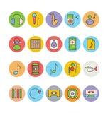 Icônes 7 de vecteur colorées par musique Photo stock