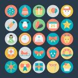 Icônes 3 de vecteur colorées par Noël Image libre de droits