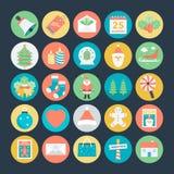 Icônes 1 de vecteur colorées par Noël Images stock