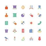 Icônes 5 de vecteur colorées par Science Image stock