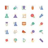 Icônes 7 de vecteur colorées par Science Image stock