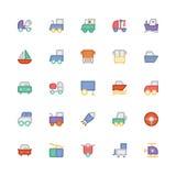 Icônes 9 de vecteur colorées par transport Photographie stock