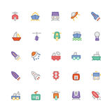 Icônes 5 de vecteur colorées par transport Photographie stock