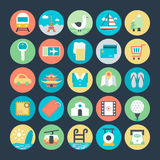 Icônes 2 de vecteur colorées par voyage illustration libre de droits