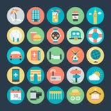 Icônes 3 de vecteur colorées par voyage illustration libre de droits