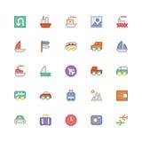 Icônes 2 de vecteur colorées par voyage Image libre de droits