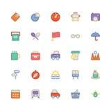 Icônes 11 de vecteur colorées par voyage Photographie stock libre de droits