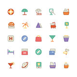 Icônes 10 de vecteur colorées par voyage Photo libre de droits