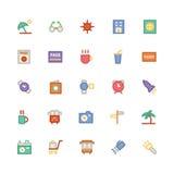 Icônes 5 de vecteur colorées par voyage Image libre de droits